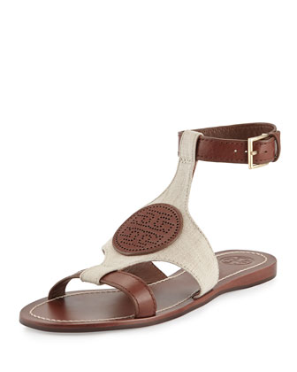 Perforated Logo Flat Sandal, Natural/Almond