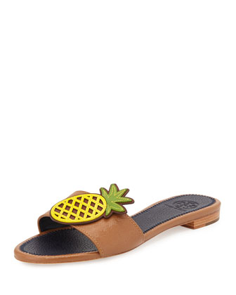 Pineapple Leather Flat Sandal, Royal Tan