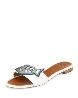 Fish Flat Sandal Slide, White