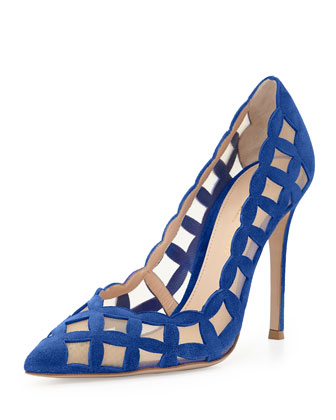 Suede & Tulle Cutout Pump, Royal Blue