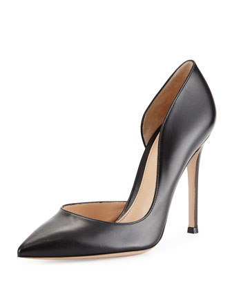 Leather Open-Side Pump, Black