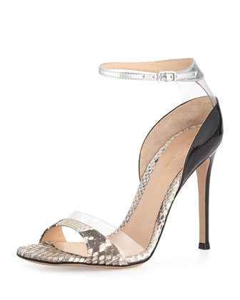 Ankle-Strap High Heel Sandal, Gray