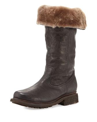 Valerie Shearling Fur Pull-On Boot, Black