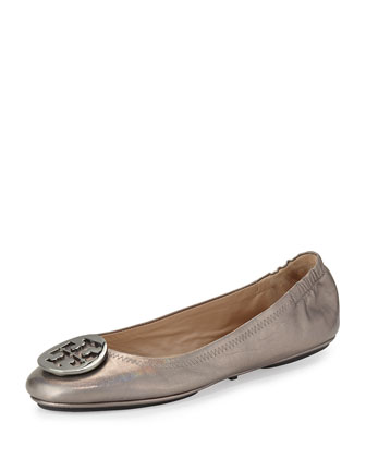 Packable Logo Ballet Flat, Gunmetal
