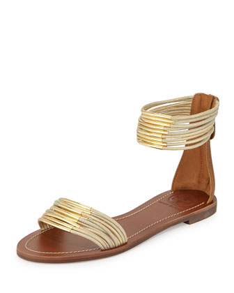 Mignon Rings Strappy Flat Ankle-wrap Sandal, Gold