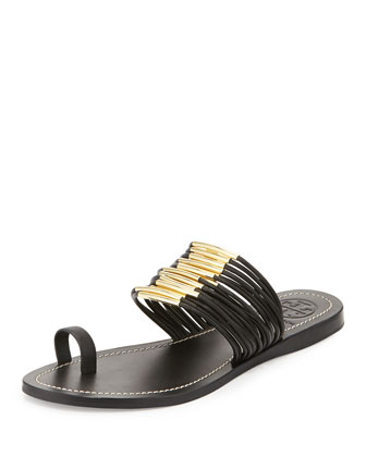 Mignon Rings Strappy Flat Sandal, Black