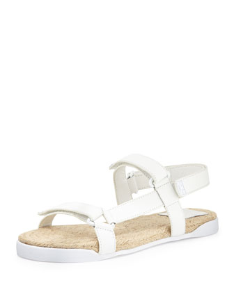 Flat Leather Espadrille Bumper Sandal, White