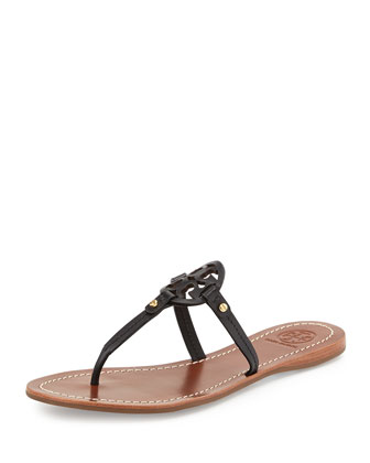 Mini Miller Leather Flat Thong Sandal, Black