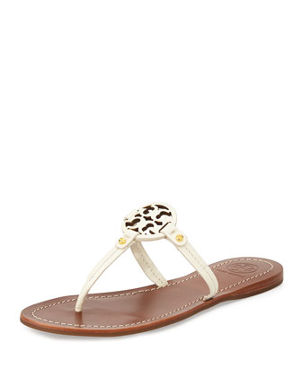 Mini Miller Leather Flat Thong Sandal, Ivory