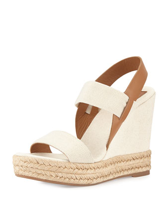 Two-Band Wedge Sandal, Royal Tan