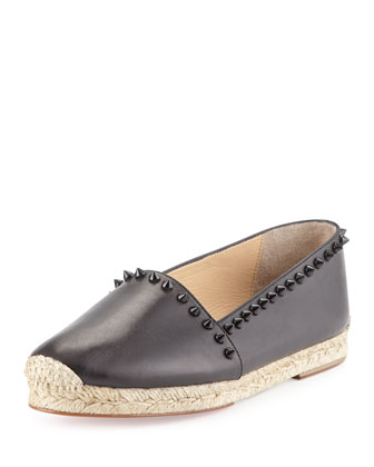 Ares Leather Red Sole Espadrille, Black
