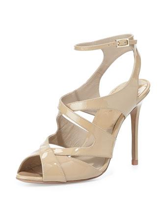 Cordelia Strappy Patent Sandal, Dark Nude