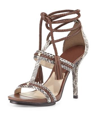 Valera Snakeskin Ankle-Wrap Sandal, Natural