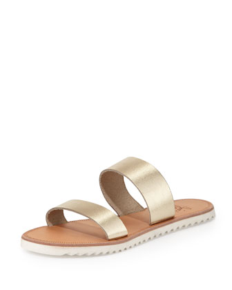 Avalon Metallic Flat Sandal, White/Gold