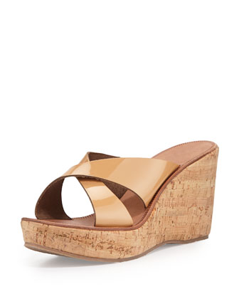 Stinson Patent Wedge Sandal, Nude