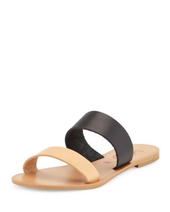 Sable Two-Tone Flat Sandal Slide, Black/Natural