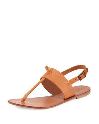 Bastia Leather Thong Sandal, Natural