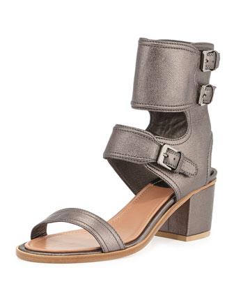 Metallic Ankle Cuff Sandal, Silver