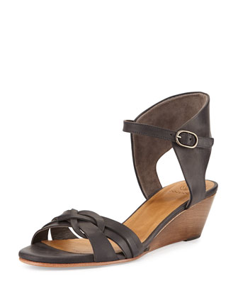 Melania Demi-Wedge Sandal, Dark Gray