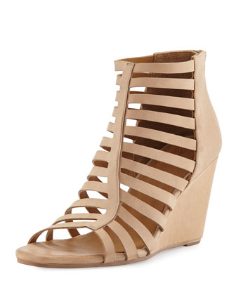 Joni Caged Wedge Sandal, Nude