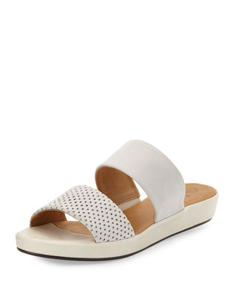 Rush Perforated Leather Sandal Slide, White