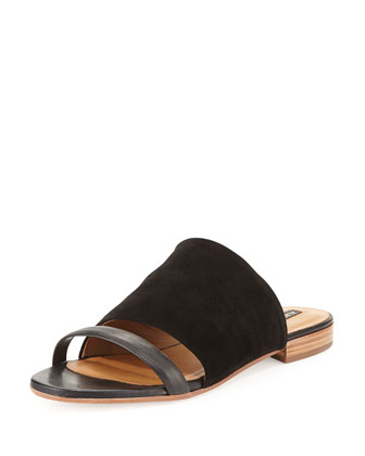 Rose Leather Sandal Slide, Nero