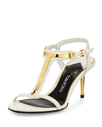 Leather T-Bar Sandal, Chalk