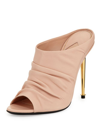 Ruched Leather High-Heel Mule, Nude