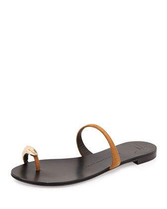 Slip-On Toe-Ring Sandal, Brown