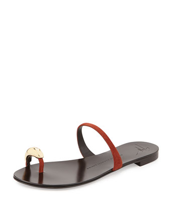 Slip-On Toe-Ring Sandal, Dark Orange