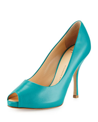 Peep-Toe High-Heel Pump, Sea Blue