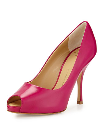 Leather Peep-Toe High-Heel Pump, Light Red