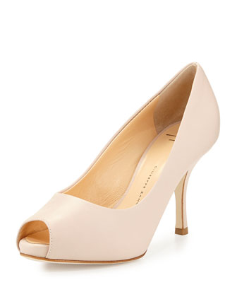 Leather Peep-Toe Pump, Pink