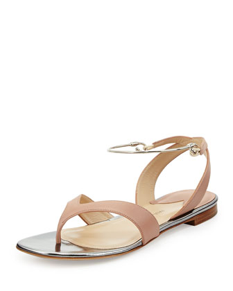 Leather Thong Sandal with Bar Strap