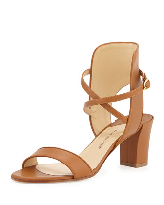 Leather Crisscross Ankle-Cuff Sandal, Brown