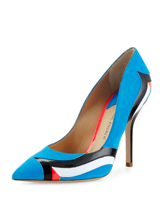Multicolor Stripe Suede Pump, Blue