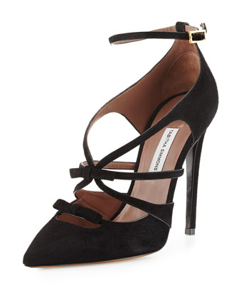 Suede Ankle-Strap Bow Pump, Black