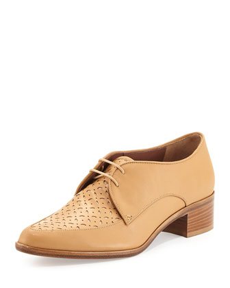 Helga Perforated Lace-Up Oxford, Nude