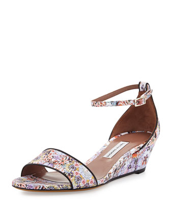 Open-Toe Ankle-Wrap Wedge, Multi