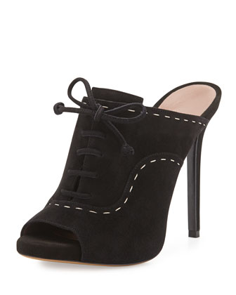 Suede Lace-Up Mule Sandal, Black