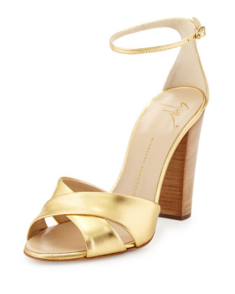 Metallic Crisscross Sandal, Gold