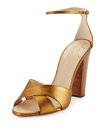 Metallic Crisscross Sandal, Bronze