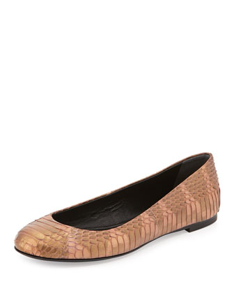 Snake-Embossed Leather Ballet Flat, Gold