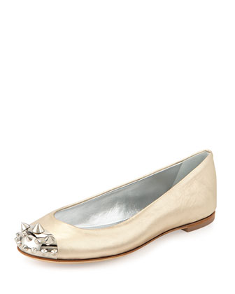 Metallic Spiked Cap-Toe Flat, Platinum
