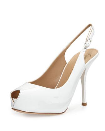 Patent Peep-Toe Sandal, White