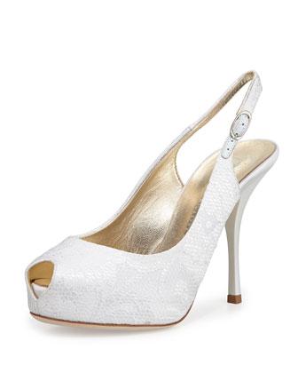 Peep-Toe Lace Slingback Sandal, White