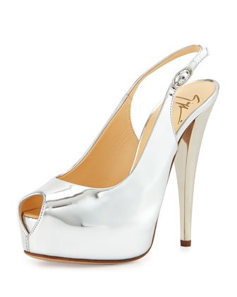 Metallic Patent Leather Platform Slingback, Silver