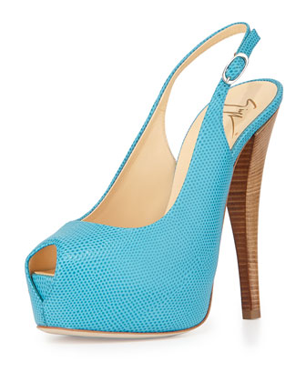Lizard-Embossed Slingback Sandal, Light Blue
