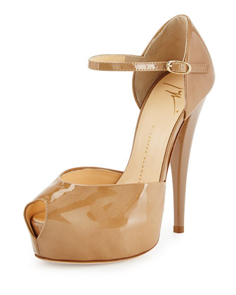 Patent Leather Peep-Toe Platform Sandal, Dark Beige