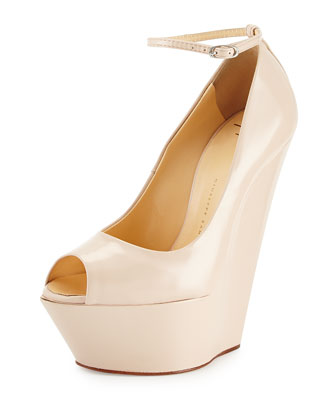 Leather Peep-Toe Wedge, Blush